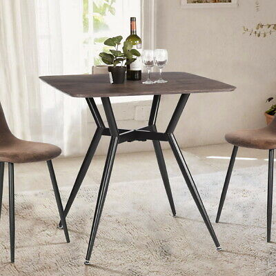 Mid Century Modern Kitchen Square Dining Table Wook Desk Top Metal Legs Brown