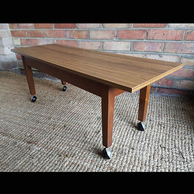 Vintage/ Retro Rectangular Coffee Table on Casters