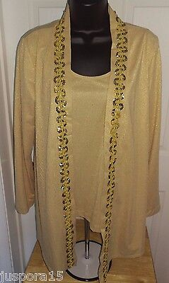 52efab70344c06 Additions by Chicos Womens Glitter Gold Tank and Cover Shirt Top Size 1 M