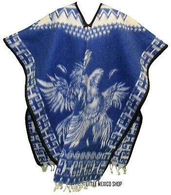 HEAVY BLANKET Mexican PONCHO GALLOS 4 BLUE ONE SIZE FITS ALL Blanket Gaban