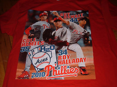 ROY OSWALT/HALLADAY COLE HAMELS Philadelphia Phillies Baseball Large T-shirt L