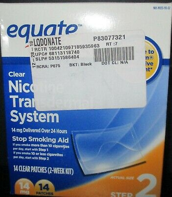 Equate STEP 2 clear Nicotine Transdermal system 2 wk kit 14mg 14 patches 6/20