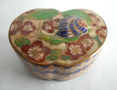 Charming Antique / Vintage Chinese Enamel / Cloisonne Box - Snail