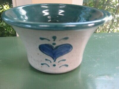 Great Bay Pottery Rye NH  Serving Bowl HANDLED Blue GRAY Green