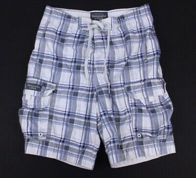 7ef506b6bd mens gray white plaid ABERCROMBIE & FITCH board shorts swim swimming trunks  L