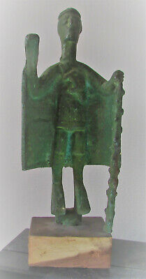 Very Unusual Ancient Near Eastern Bronze Statue Holding Staff. Needs Research