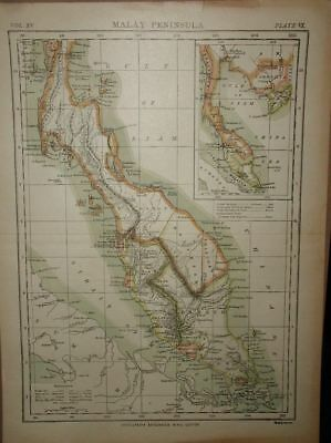 "Antique Map of Malay Peninsula Encylopedia Britannica Map;9th Ed.,c.1880s~13""x 9"