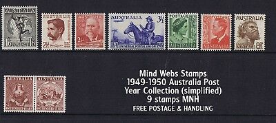 Australian Pre-Decimal Stamps 1949-1950 Year Set (9) MNH no ARMS set