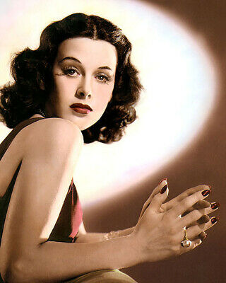 "HEDY LAMARR HOLLYWOOD ACTRESS MOVIE STAR 8x10"" HAND COLOR TINTED PHOTOGRAPH"