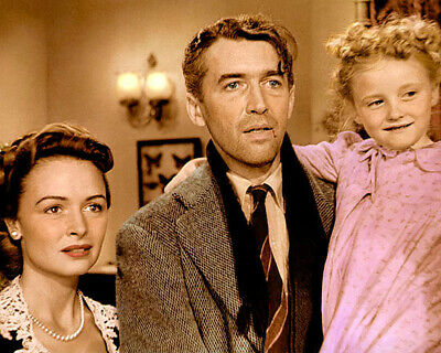 """DONNA REED JAMES STEWART IT'S A WONDERFUL LIFE 8x10"""" HAND COLOR TINTED PHOTO"""