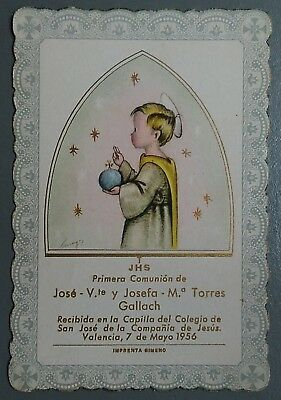 Estampa religiosa antigua RECUERDO COMUNION AÑO 1956 holy card