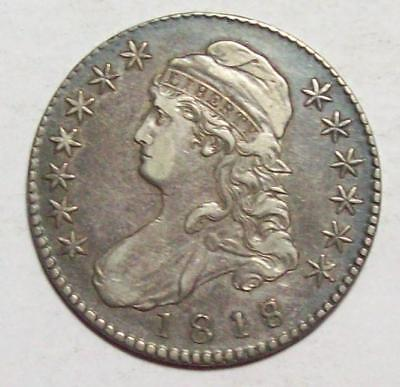 1818 Over 7 Early CAPPED BUST HALF DOLLAR  Sharp XF+  #29B74