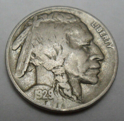 """1929 P Indian Head """"buffalo"""" Nickel  *ag Or Better*  **free Shipping**"""