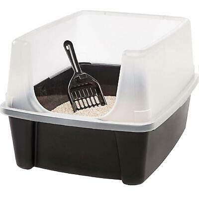 CLEAN PET OPEN-TOP Cat Litter Box with Shield and Scoop Kitty Extra-tall Plastic