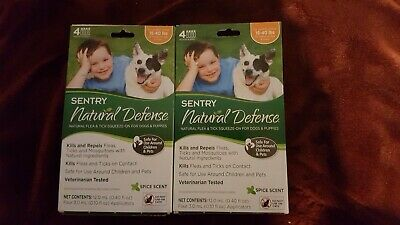 Sentry Natural Defense Flea Tick mosquito remedy dog 15 to 40 lbs 8 applications