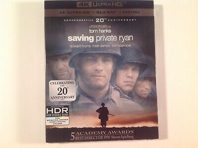 Saving Private Ryan [New 4K UHD Blu-ray]+ Blu-Ray+ CODE +Slipcover WWII War TV