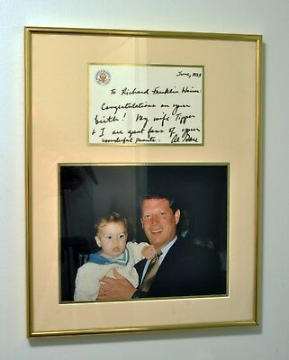 Personal Vice President Al Gore Framed Photo Autographed to DNC Richard Wiener