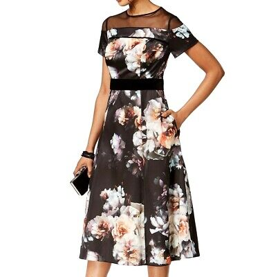 03193c21004f7 SL Fashions NEW Black Womens Size 12 Mesh-Panel Floral Sheath Dress $119 202