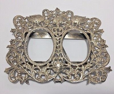 Vtg Silver Ornate Floral Birds Double Oval Picture Frame Easel Stand Rococo
