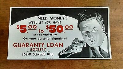 Antique 1936 Banker Loan Society Cardboard Advertising Mafia Sign Shop History