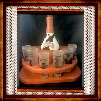 Mexican Tequila Leather Covered Glass Decanter Wood Stand & 6 Tall Shot Glasses