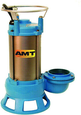 AMT Pump 5760-95 Submersible Shredder Sewage Pump, Cast Iron, 1 HP, 1 Phase, A,