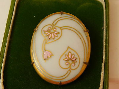 Vintage Art Deco Porcelain Pink Flower Glass Cameo style Brooch Pin 8d 98