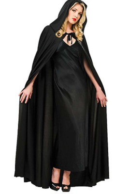 NEW Adult Black Cape Cloak Robe Halloween Vampire Witch Wizard Fancy Dress 140cm