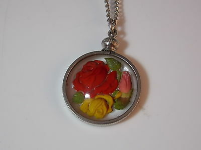 Vintage Painted Glass Intaglio Red Yellow Rose Flower Pendant Necklace 6c 44