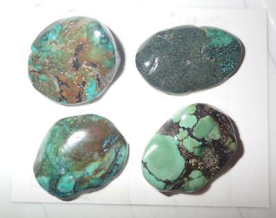 Turquoise Rough Stone Surface Flat Bottom Free Form Cab 175 Carat 4 pieces