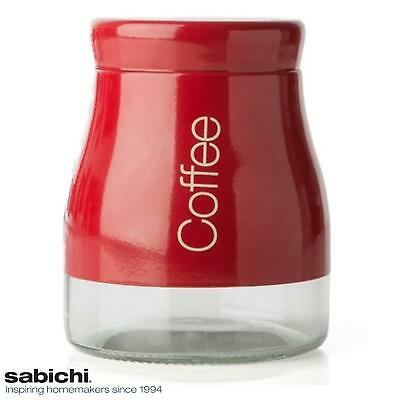 Sabichi Red Coffee Canister Storage Jar Pot - Stainless Steel, Glass & Screw Lid