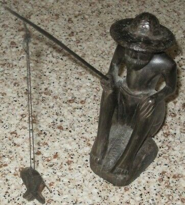 """Wonderful 5"""" Tall Hand Carved Vintage Ebony Fisherman With Fishing Pole and Fish"""