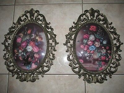 """VTG pair of LARGE 13"""" Oval Ornate ITALIAN TOLE FLORAL Wall Pictures"""