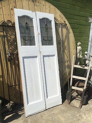 Pair of Painted Pine Double Door's with Art Nouveau stained glass panels