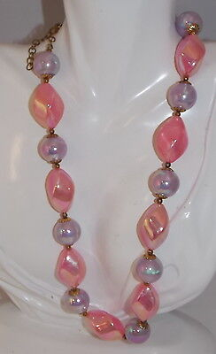 Easter Pink Lavender Purple Iridescent Chunky Bead Strand Vintage Necklace 4c 5