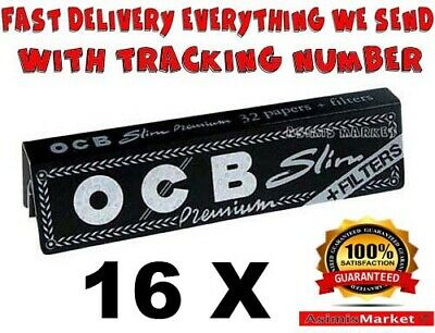 Ocb King Size Slim Premium + Filter Tips 16 Packs Smoking Rolling Papers