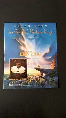 "Elton John ""The Lion King""  Rare Original Print Promo Poster Ad"