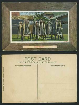 China Old Postcard Chinese Criminals SLOW DEATH CAGES Suspended by Neck & Wrists