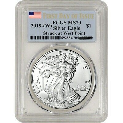 2019 (W) American Silver Eagle PCGS MS 70 First Day Of Issue Blue Flag Label $1