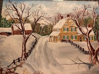Signed Pat Foust Oil On Board Winter Snow Landscape 18 By 24 Inches Circa 1971