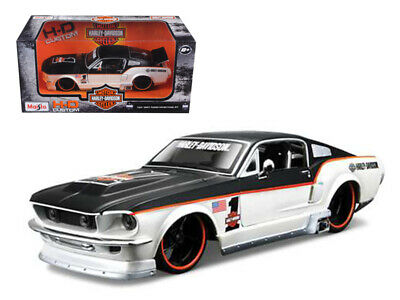 1967 Ford Mustang GT White #1 Harley Davidson 1/24 Diecast Model Car by Maisto