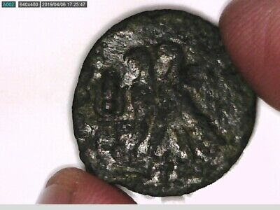 Lot Of 2 Coins Egypt Cleopatra Vii & Ptolemy Xvi As Caesar Isis Eagles Zeus