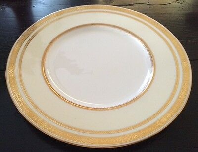 Minton China Tiffany Co White W/Cream & Gold Encrusted Dinner Plate H 2949*