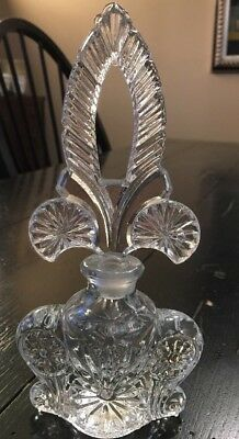 PERFUME BOTTLE w/crystal Stopper Etched Crystal Glass Vintage Gorgeous *
