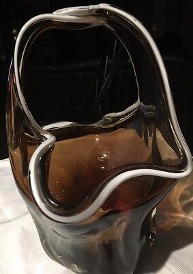 Vint Wales Hand Blown Art Glass Smoke And White Basket Made In Japan  *