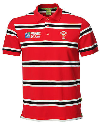 Official WRU RWC 2015 Wales Mens Rugby World Cup Welsh Yarn Stripe Polo Shirt