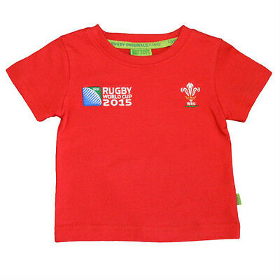 WRU RWC Wales Official Kids Boys/Girls/Baby Welsh Rugby 2015 Red T Shirt Cotton