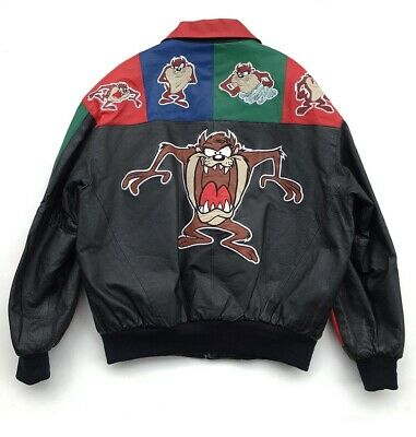 Vintage Rare 1998 Tasmanian Devil Leather Jacket XL 90's Classic Looney Tunes