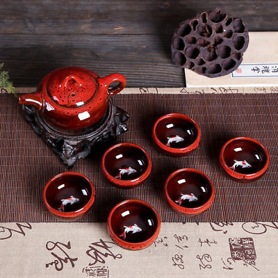 3D Koi Fish Kung Fu Tea Cup Tea Ceremony Teapot Matcha Cup Set 7pcs red