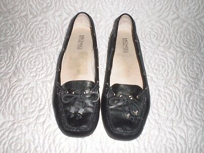 8343806b60e Michael Kors Daisy Moc Flats black loafers leather upper bow shoes 9.5 M